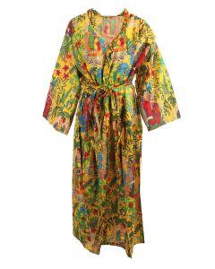 Lange okergele katoenen kimono met Frida Kahlo print
