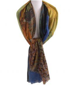 Wollen mousseline schilderij-sjaal met print van ''Caféterras bij nacht''