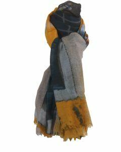 Wollen sjaal met foto pint in geel en grijs