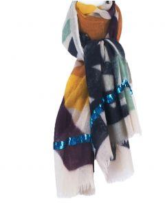 Lichtbeige wollen sjaal met grafisch design