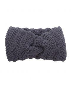 Zigzag-gebreide haarband in grijs