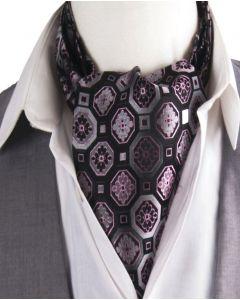 Zwarte cravat met paarse bloemenprint