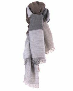 Fijn geweven sjaal met kleurvlakken in grijs en bruin