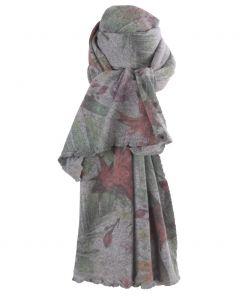 Grijze kasjmiermix sjaal met tropische bloemenprint