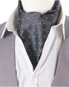Grijs-blauwe & bordeaux rood/witte cravat met paisley print