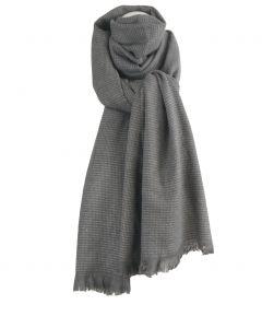 Grijze wol-blend sjaal met geweven stippen patroon