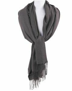 Soepelvallende effen midden grijze pashmina sjaal