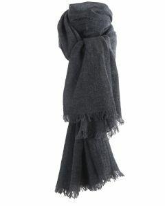 Donkergrijze geweven sjaal van 100% kasjmier