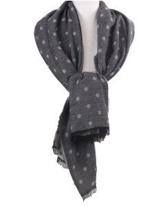 Sjaal met polkadot print in grijs -tinten