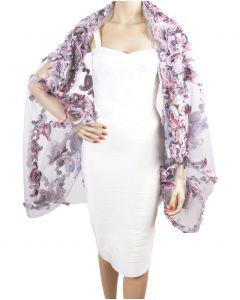 Bolero stola met rozen lintstiksel in grijs en roze tinten