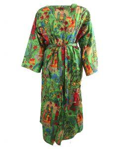 Lange limegroene katoenen kimono met Frida Kahlo print