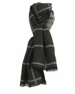 Legergroene sjaal met grijze ruiten