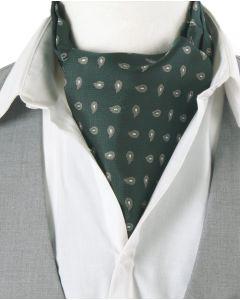 Flessengroene & taupe/lichtgrijze cravat met paisley print