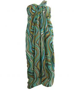 Satijnen sarong met turquoise-groene grafische print