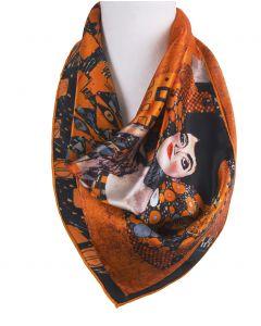 Zijden sjaal met print van''Portret van Adèle Bloch-Bauer I'' van Gustav Klimt