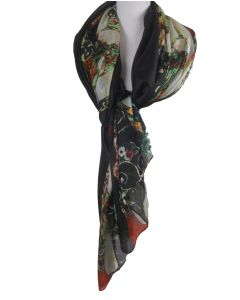 Zwarte zijden sjaal/stola met print '' Die Jungfrau'' van Gustav Klimt