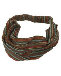 Katoenen haarband met strepen in legergroen