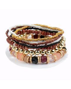 Bruin gouden 7-strengs stretch kralen armband