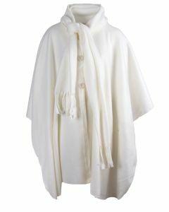 Licht-ivoorkleurige fleece cape met knoopsluiting