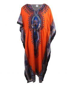 Ivoorkleurige kaftan met tribal print
