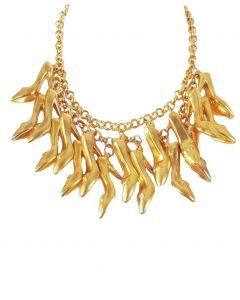 Halsketting met 17 gouden stiletto pump hangers
