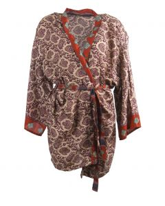 Zijden kimono in ecru-paars
