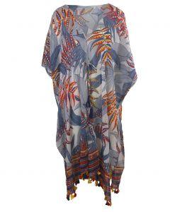 Katoenen kimono met tropische bladeren print