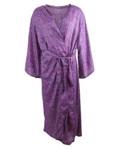 Lange zijden kimono in grijs-paars