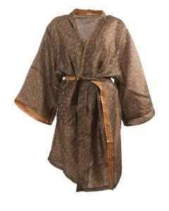 Zijden kimono in taupe en cognac