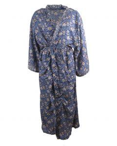 Lange zijden kimono in blauw-grijs