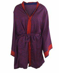 Korte zijden kimono in rood en blauw