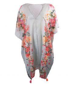 Kimono met bloemen en panterprint