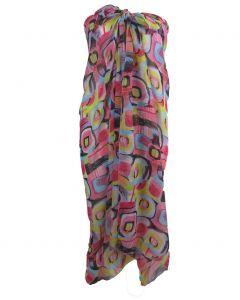 Lichtroze crêpe voile sarong met grafische print
