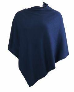 Kasjmier-blend poncho in kobaltblauw