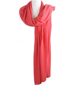 Kasjmier-blend sjaal/omslagdoek in koraalroze