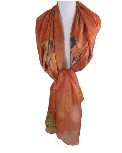 Zijden sjaal/stola met print ''De kus'' van Gustav Klimt