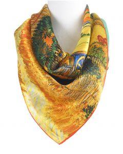 Zijden vierkante sjaal met afbeelding ''De oogst'' van Gogh