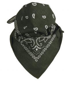 Legergroene bandana / boerenzakdoek met klassiek motief
