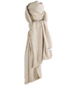 Kasjmier-blend sjaal in lichtbeige