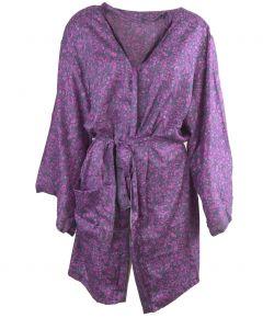 Korte zijden kimono in grijs-paars