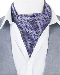 Lila Ascot Cravat met jacquard geweven meander ornament