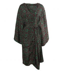 Zijden kimono in bordeauxrood en limegroen