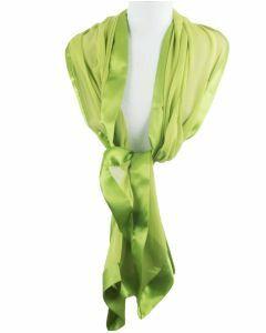 Lime groene crêpe zijden stola omzoomd met satijnen rand