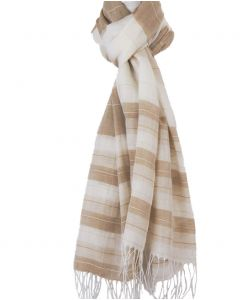 Ivoorkleurige sjaal met strepen