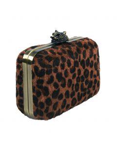 Cognac kleurige clutch met luipaard print