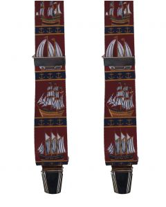 Donkerrode bretels met maritiem thema