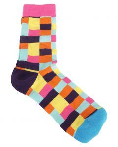 Trendy sokken met mintgroen /roze/oranje blokruit