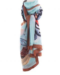 Turquoise zijden sjaal met vlinderprint