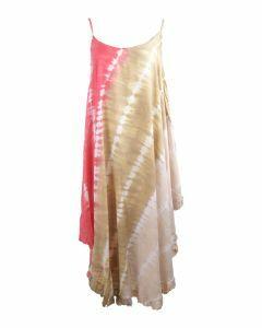 Roze-beige maxi jurk met tie-dye print