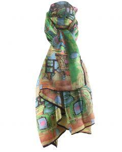 Zijden sjaal/stola met moderne art print in groen en geel